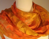 Woodland Branches Long Silk Scarf or Wrap Hand Painted in Gold and Copper - wildgingersilk