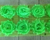 SALE .99 per yard NEON GREEN Chiffon Rose Trim on Net-2 1/2 inch