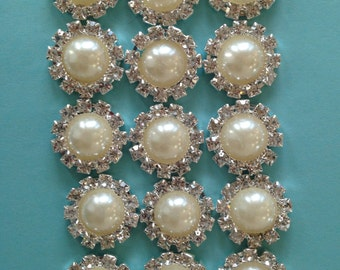 """New- PEARL with RHINESTONE BUTTON Flat back-15 count-3/4"""" wide"""