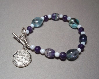 Pisces - Zodiac Charm Amethyst Rainbow Fluorite and Blue Lace Agate Toggle Clasp Bracelet