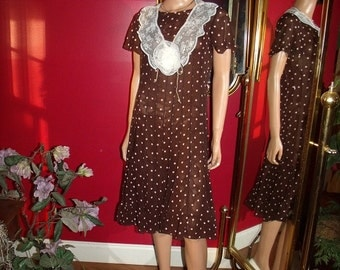Polka Dot Vintage 90s 2-pc  Flapper Dress Collar  Daytime Holiday Size 10