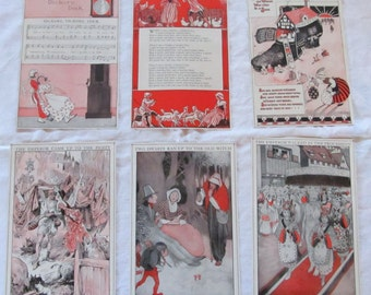 "vintage ephemera- FAIRY TALES --antique prints from ""Book of Knowledge"" 1912 (6 pages)"