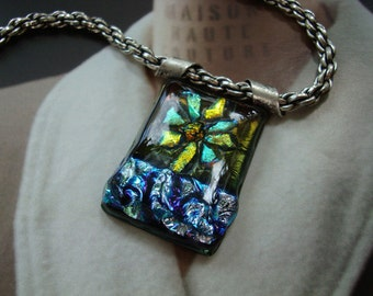 Custom Handmade Dichroic Glass Pendant, High Quality Thick Rope Sterling Silver Ox Plated Chain, Unique, One of a Kind, USA, Gift Boxed