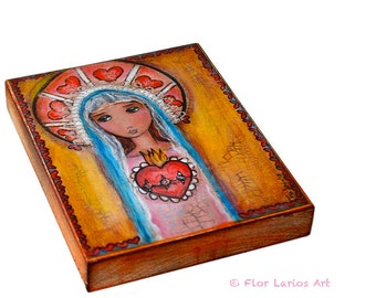 Mary and Her Sacred Heart - Giclee print mounted on Wood (4 x 4 inches) Folk Art  by FLOR LARIOS