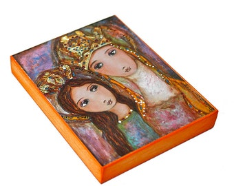 Ora Pro Nobis Saint Anne and Mary -  Giclee print mounted on Wood (4 x 5 inches) Folk Art  by FLOR LARIOS