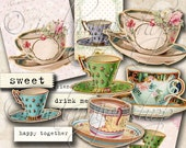 TEA CUPS Collage Digital Images -printable download file Scrapbook Printable Sheet