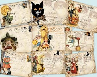 TRICK or TREAT POSTCARDS Collage Digital Images -printable download file-