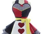 Retro Apron - Queen of Hearts Womans Aprons - Vintage Apron Style - Wonderland Pin up Villian Rockabilly Cosplay