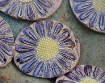 Pottery Cuff Bead, The Elli with a Flower Design