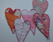 Heart vintage cutter quilt Christmas ornament handmade abstract folk art quilted pinks oranges blues  decoration  fabric textile