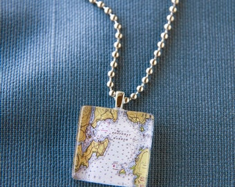 Boothbay Harbor square pendant