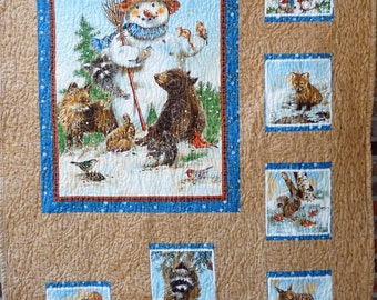Quilt,  Snowman with Animals - Wall Hanging, lap quilt