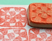 granny square hand carved rubber stamp, hand carved rubber stamp, handmade rubber stamp