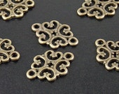 Jewelry Connectors 6 Antique Bronze Filigree 2-Ring Victorian 18mm NF (1011con18z1)