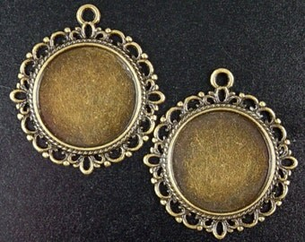 CLEARANCE Pendant Blank 10 Tray Antique Bronze Filigree Flat Round Pendant Setting Tray, 34mm x 31mm Pad 19mm NF (1025pen39z1)os