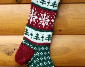 Hand Knit Christmas Stocking Snowflake