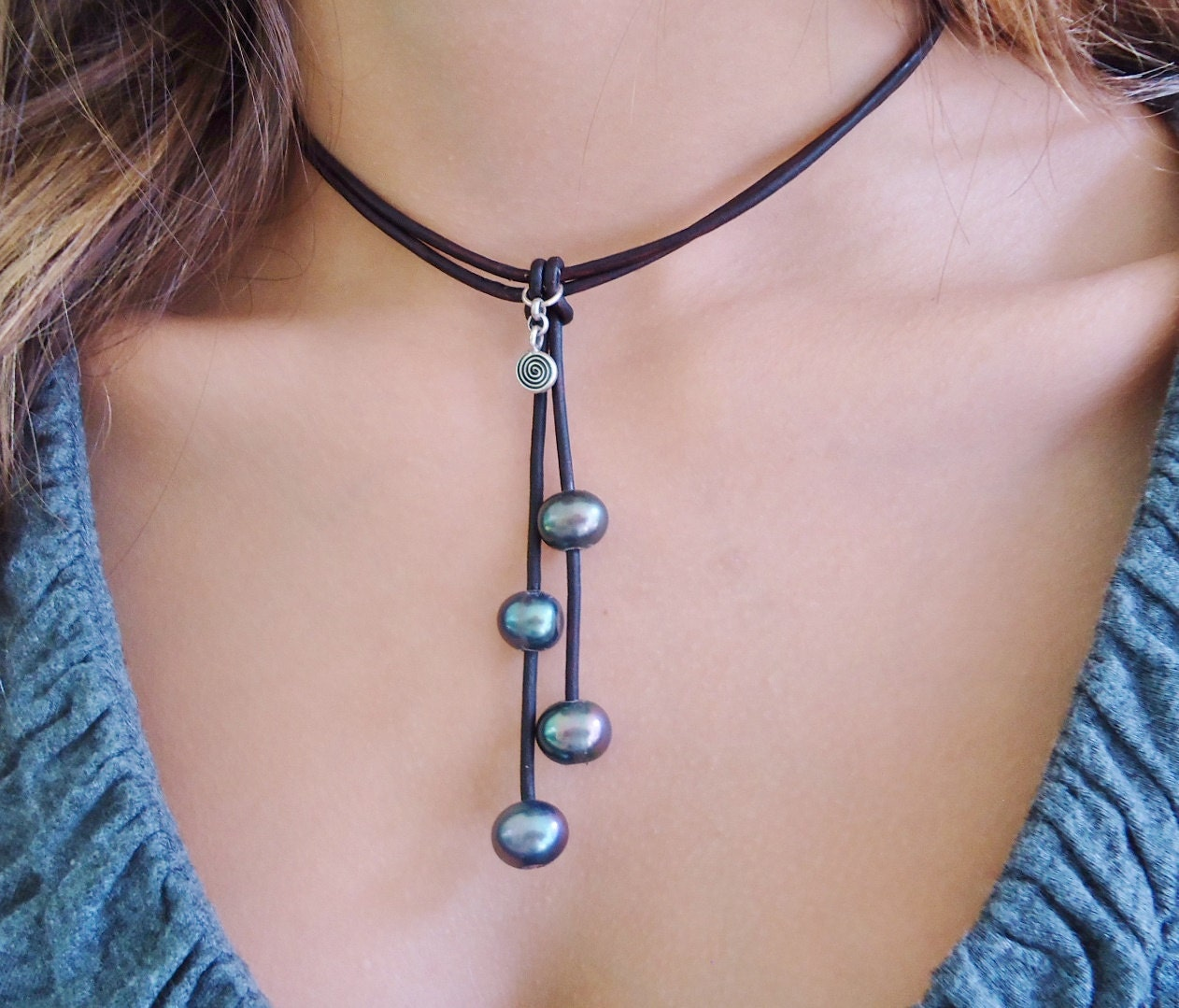 Black Pearls On Leather With Circle Of Life Sterling Silver