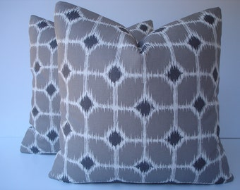 Diamond Ikat Pillow Covers One Pair 18 x 18 Handmade Grey White Pillows Home Decor Ikat Cushion Covers Pair Throw Pillows Accent Pillows