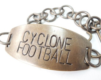 Cyclone Football Bracelet  Hand Stamped Jewelry