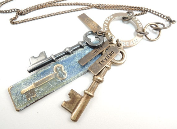 Unlock your Dreams Necklace, Keys Necklace, Long Chain Necklace, Hand Stamped Necklace