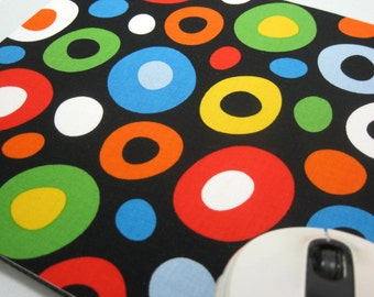 Buy 2 FREE SHIPPING Special!!   Mouse Pad, Computer Mouse Pad, Fabric Mousepad       Dr. Seuss  Wonky Dots on Black