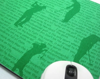 Buy 2 FREE SHIPPING Special!!   Mouse Pad, Computer Mouse Pad, Fabric Mousepad       Hole in One Silhouettes in Green