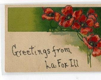 Greetings from La Fox, IL  Poppies Flower Embossed Vintage Postcard; Carte postale glitter