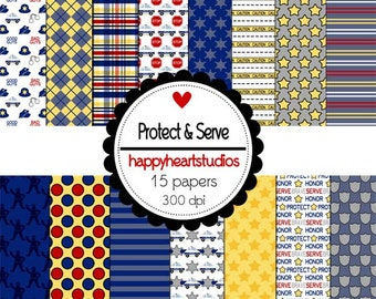 Digital Scrapbook Protect&Serve Blue, Gray, Yellow, Police -INSTANT DOWNLOAD