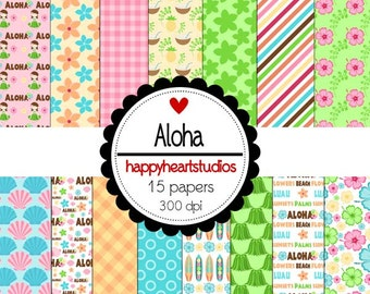 Digital Scrapbooking Aloha- Tropical, hawaiian, ocean, vacation -INSTANT DOWNLOAD
