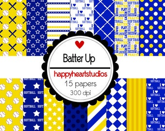 Digital Scrapbook Batter Up -Softball-INSTANT DOWNLOAD