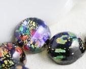 6 Pieces Preciosa Czech Glass Round Cabochons-Black Opal 9mm (168409BKOP) (B-3-25)