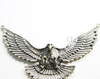 1pcs Antique Brass Tone Base Metal Pendant  - Eagle 81x61mm (193C-Q-138)