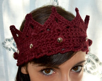 Made in Italy - Glam rock, royal studded wool crown, headband, ear warmer, silver studs, for queen and princess - Made to order