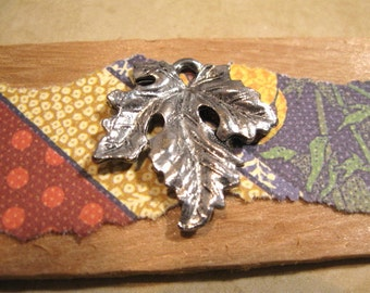 Antique Pewter Leaf Charm - Pendant from Quest Beads and Cast