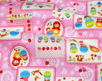 Matryoshka Russian dolls print japanese fabric