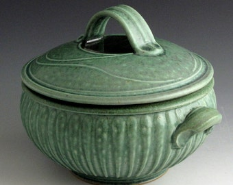 Hand Thrown, Stoneware, Ovenware, Microwaveable, Two Quart, Striped Green Casserole, John Bauman