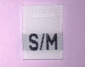 Size S/M (Small-Medium) Woven Clothing Size Tags (Package of 100)