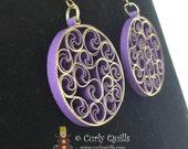 Purple & Gold Metallic Edge Beehive Quilled Earrings