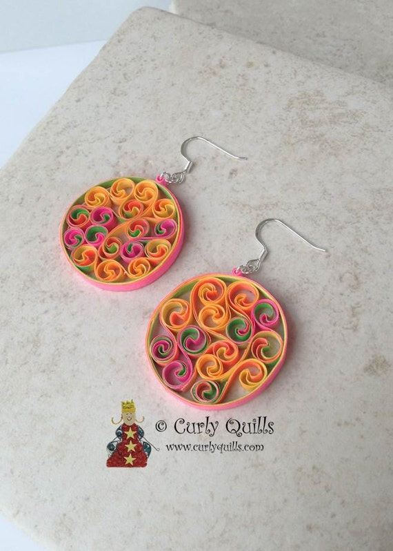 Items similar to Neon Beehive Quilled Earrings on Etsy