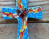 Small Mosaic Cross- turquoise with heart