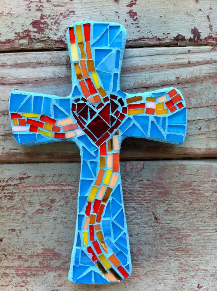 Small Mosaic Cross Turquoise With Heart