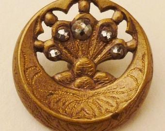 BRONZE  FAN  BUTTON  Metal Victorian Steel accents round  Vintage  Pierced 1 1/16 inch diam