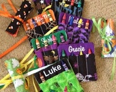 Crayon roll - Personalized Halloween mini crayon roll holds 4 crayons with either elastic or ribbon closure Perfect party favor