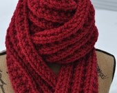 Red Chunky Scarf - Mens Long Knit Scarf - Wide Ladies Warm Wool Scarf - Womans Winter Neckwarmer - Teen Chunky Scarf - Cranberry Red