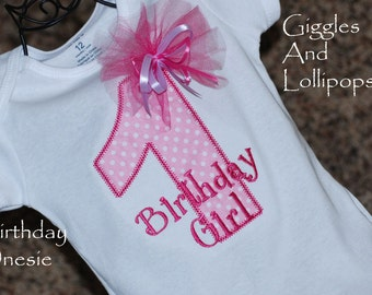 Girls personalized 1st birthday shirt bodysuit