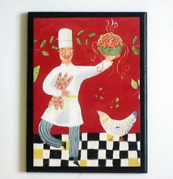 items similar to chef wall decor plaque silly dancing chefs italian pasta kitchen sign red. Black Bedroom Furniture Sets. Home Design Ideas