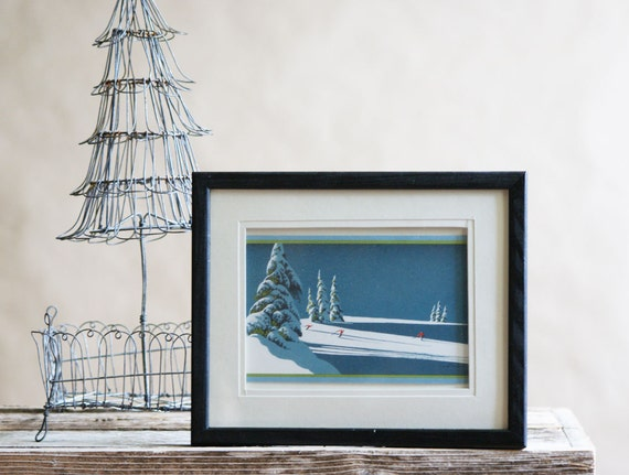 Vintage Christmas Card |  Eyvind Earle | Frameable Art | Blue Christmas Wall Decor | Holiday Collectible