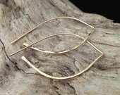 Gold Hammered Arc Earrings - Large