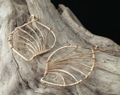 Gold Hammered Leaf Earrings - Large (E077GF-L)