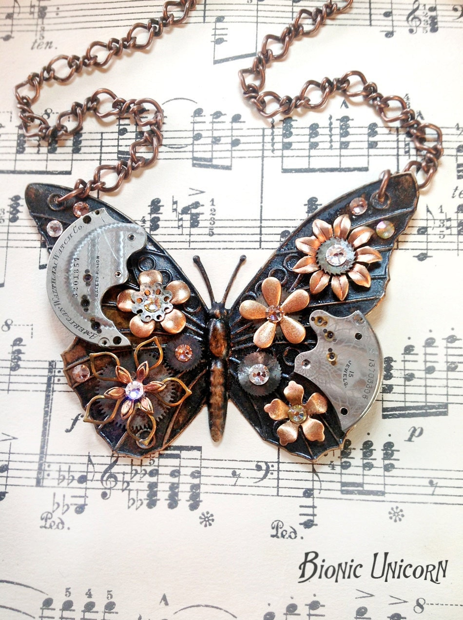 Steampunk Butterfly Necklace Antiqued Steampunk Butterfly